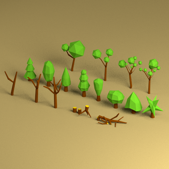 3DOcean Low Poly Tree Pack 18812304