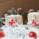 Christmas And New Year Background With Decorations, Snow, Fir Trees, Presents And Lights.