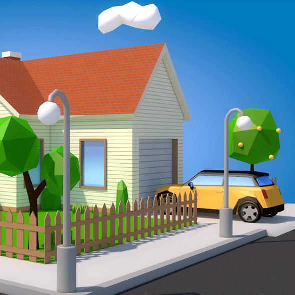 Low Poly Street - 3DOcean Item for Sale
