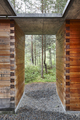 Norwegian rest area into the forest. Tourism Norway. Landscape. Vertical