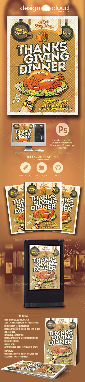 Thanksgiving Dinner Invitation Flyer Template