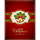 Card with Christmas Bells and Holly Berries on Red Background