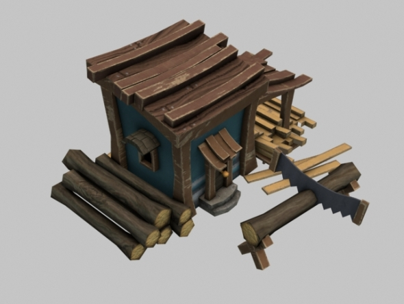 RTS Lowpoly Sawmill - 3DOcean Item for Sale