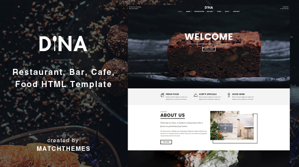 Dina - Restaurant, Bar, Cafe, Food HTML Template