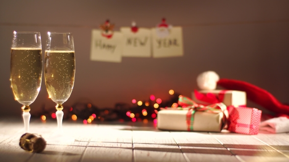 New Year And Christmas Celebration With Champagne