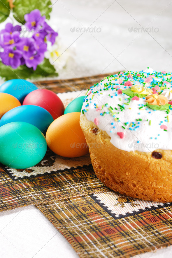 Easter eggs and cake - Stock Photo - Images