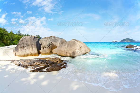 Boulders and ocean - Stock Photo - Images