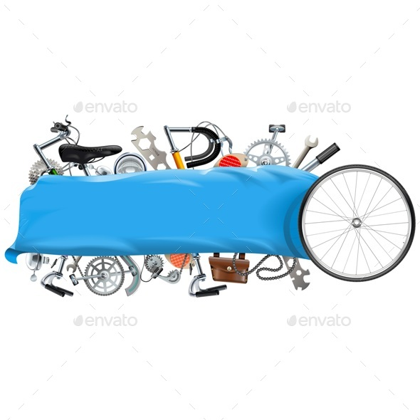 Vector Banner with Bicycle Spares