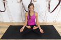 Woman Doing Yoga Exercises In Gym, Sport Fitness Girl Sitting Lotus Pose
