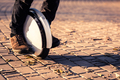Man legs mono wheel personal electrical transport