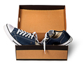 Dark blue sports shoes abandoned in a cardboard box