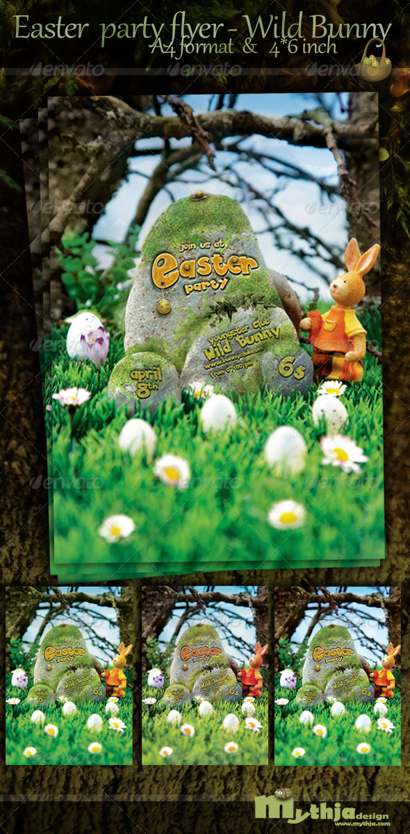 Easter Nature Party Flyer - Wild Bunny Club - Events Flyers