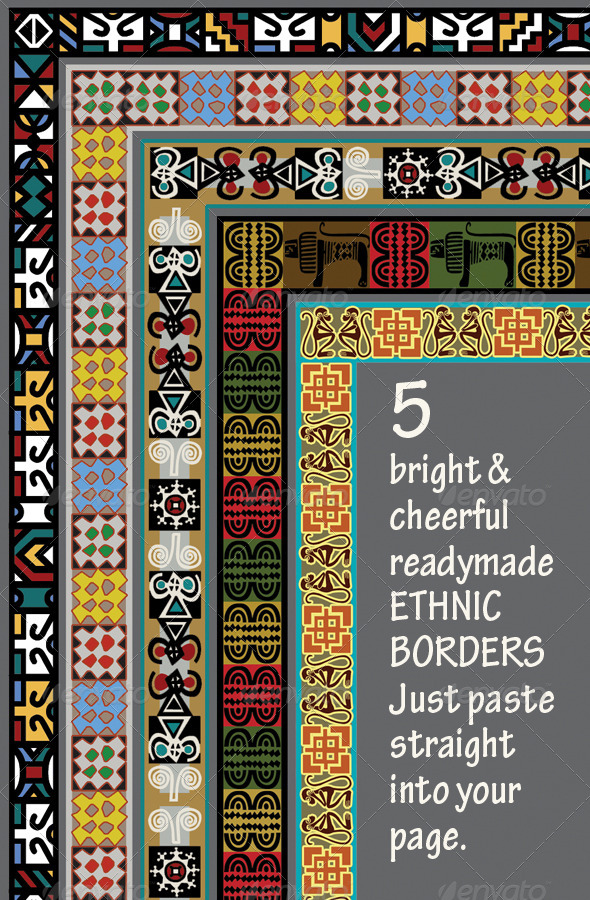 Graphic River 5 Ethnic Borders Africa Asia Americas Graphics -  Backgrounds  Miscellaneous 1853751