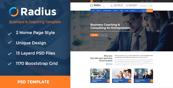 Radius- Coaching & Business PSD Template