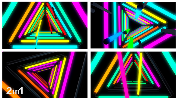 VideoHive Glow Neon Colorful Lights Tunnel 2-Pack 18841554