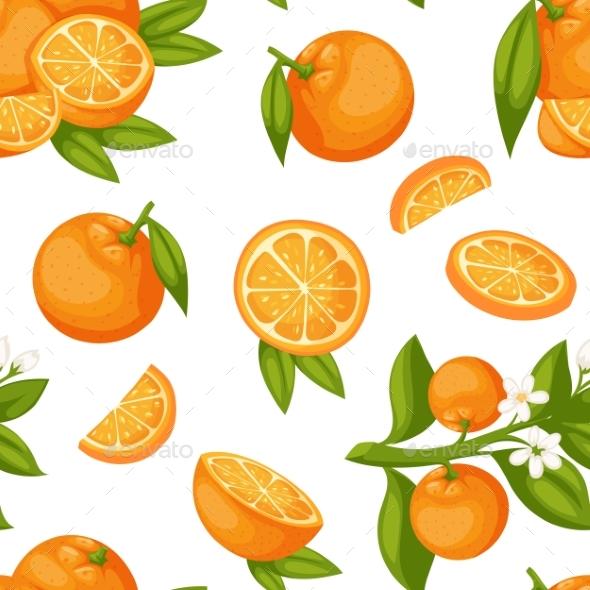 Orange Fruit Seamless Pattern Vector.