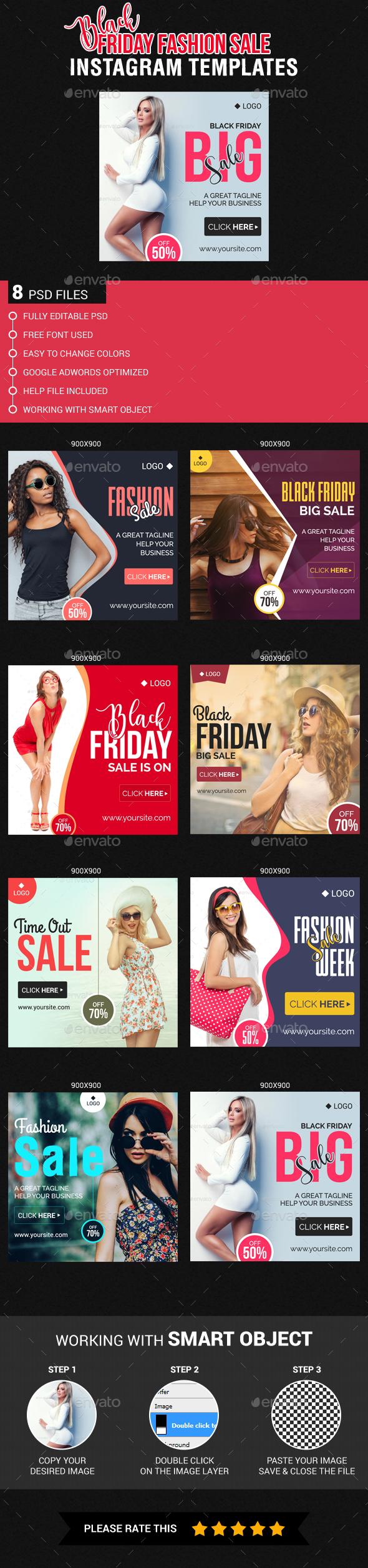 Black Friday Fashion Sale Instagram Templates