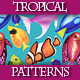 Set of Colorful Seamless Patterns with Watercolor Fishes.