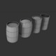 4 Low Poly Barrels - 3DOcean Item for Sale