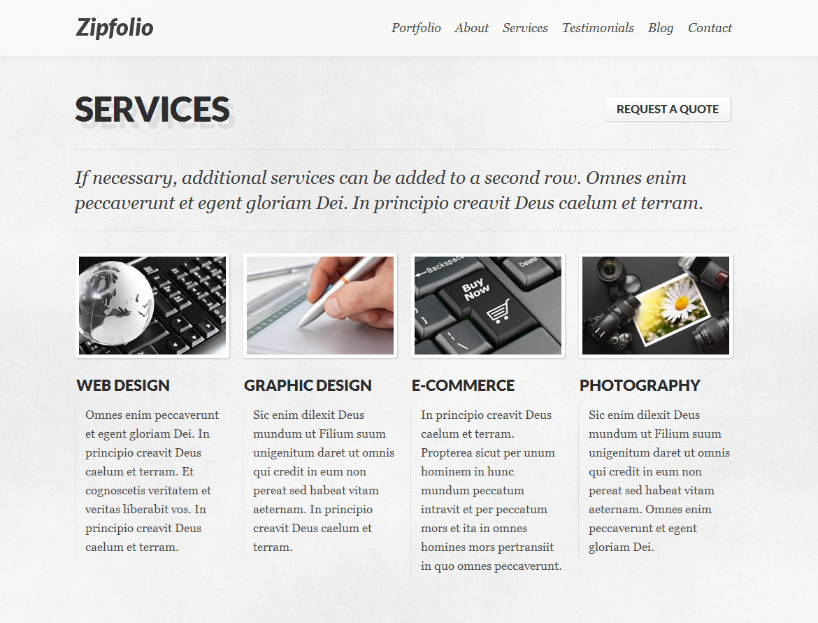 Zipfolio - Single Page Portfolio WordPress Theme - Add your services via the WordPress admin and they will appear on your services section.