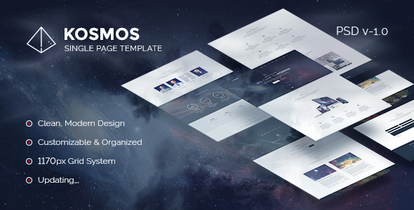 Kosmos - Single Page PSD Template