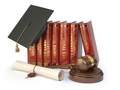 Justice, learning different fields of law concept. Books, gradua
