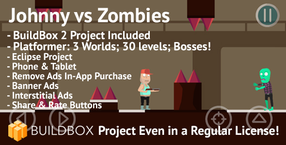 Johnny vs Zombies Platformer: Android, BuildBox Included, AdMob, RevMob, Remove Ads IAP