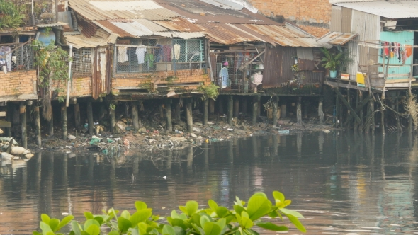 VideoHive Vietnam Views Of The City's Slums From The River In Saigon City 18864799