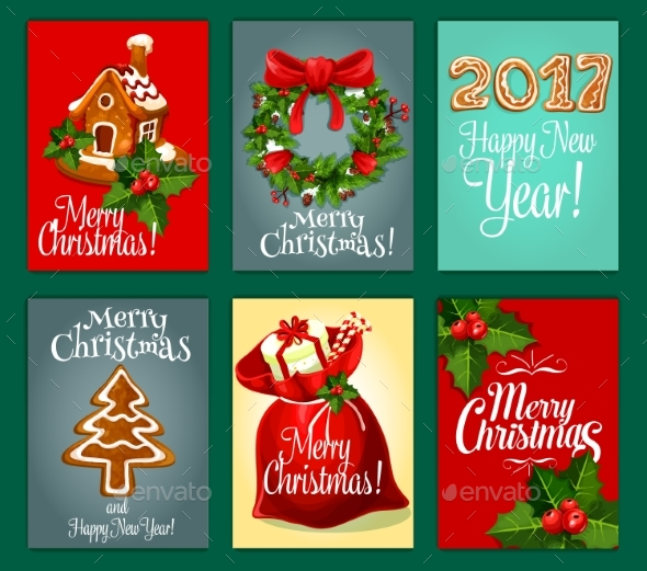 Christmas Gifts Greeting Card Set for Xmas Design