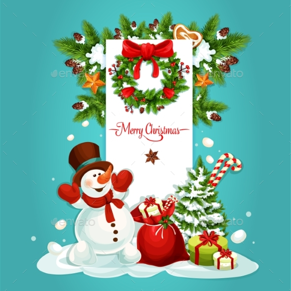 Christmas Snowman with Gift Greeting Card Design