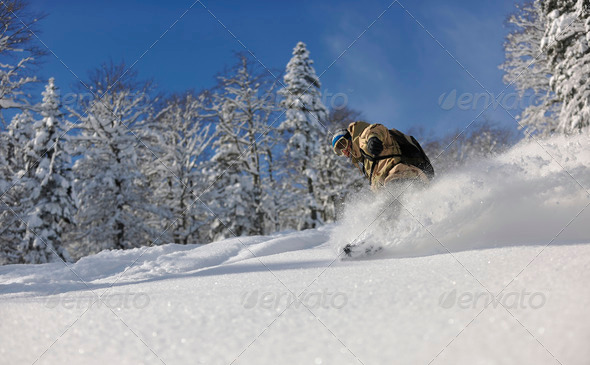 freestyle snowboarder jump and ride - Stock Photo - Images
