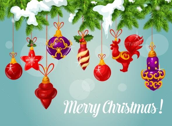Christmas Ball on Pine Branch Greeting Card