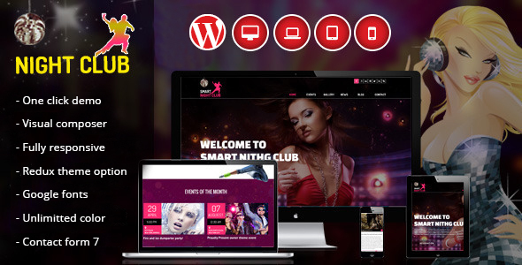 Night Club - One Page WordPress Theme For Parties