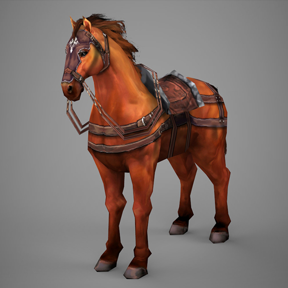 Lowpoly Medieval Horse - 3DOcean Item for Sale
