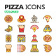 Colored Pizza Icons