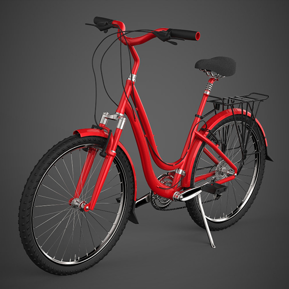 Realistic Red Bicycle - 3DOcean Item for Sale