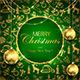 Merry Christmas on Green Background with Golden Decoration and Baubles