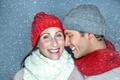 snowflakes falling couple