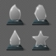 Realistic Crystal Trophy, Glass Awards Vector Set