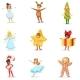 Children Dressed as Winter Holidays Symbols