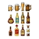 Download Vector Set Of Bottles And Stemware With Alcohol