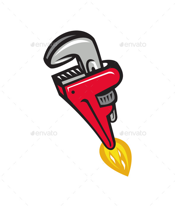 Pipe Wrench Rocket Booster Blasting Off Retro