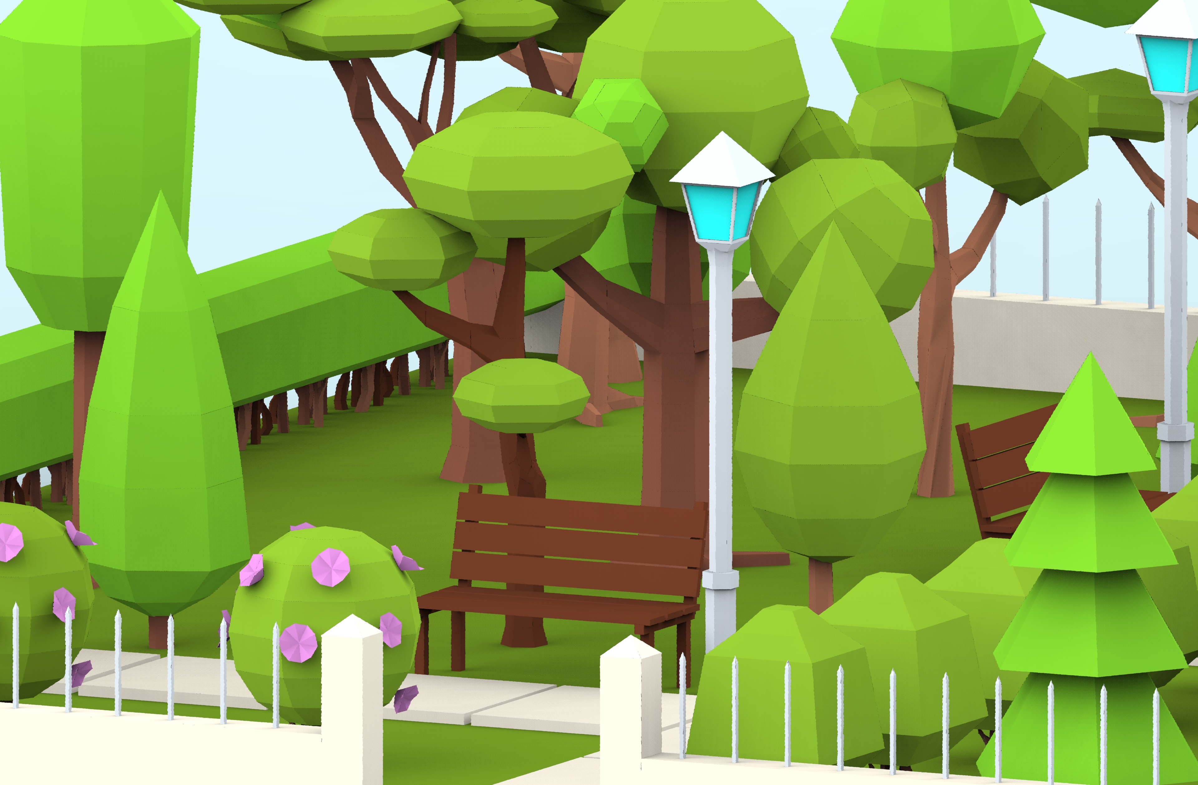 Low Poly Cartoon City Park By Scripka 3docean