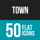 Town Flat Multicolor Icons