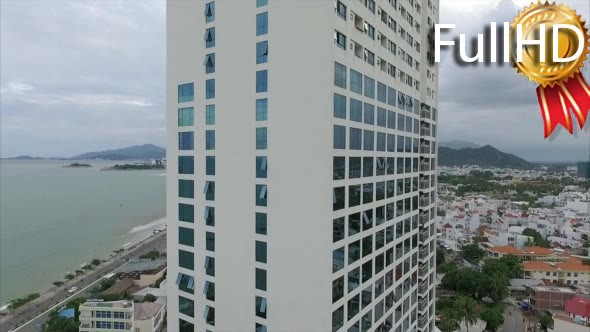 VideoHive Aerial View of a Skyscraper With Views of the Sea 18889417