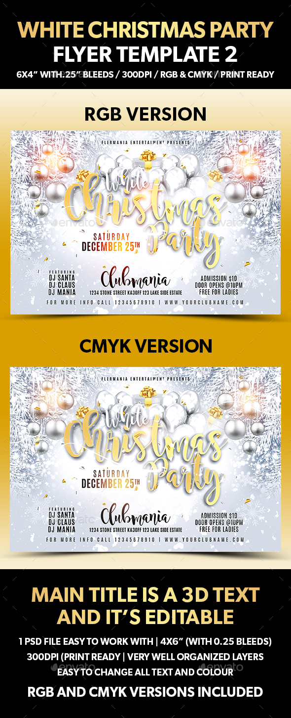 White Christmas Party Flyer Template 2