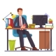 Vector Flat Illustration of a Man Working