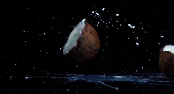 VideoHive Coconut Broken in on Black Background 18892969