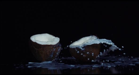 VideoHive Coconut Broken in on Black Background 18892975