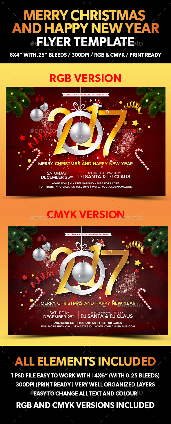 Merry Christmas and Happy New Year Flyer Template